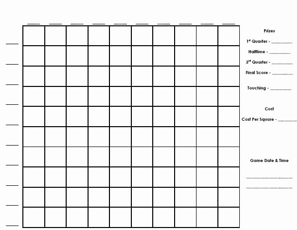 100 Square Football Pool Excel Fresh Football Squares Template