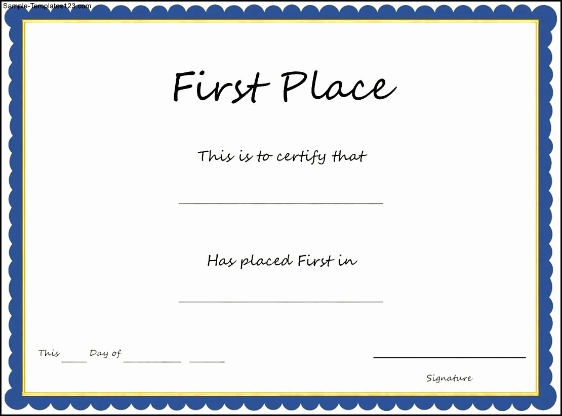 1st 2nd 3rd Place Certificate Template Awesome 29 Of First Place Award Template