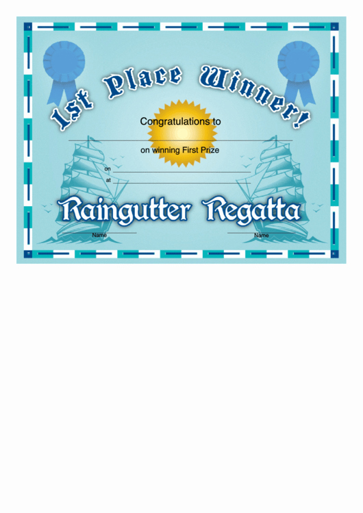 1st 2nd 3rd Place Certificate Template Inspirational Raingutter Regatta 1st Place Certificate Printable Pdf