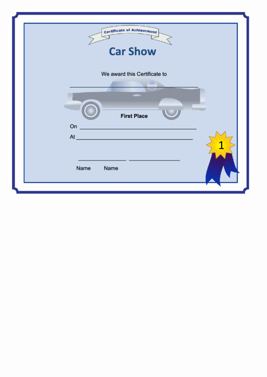 1st 2nd 3rd Place Certificate Template Luxury Fillable Car Show 1st Place Certificate Printable Pdf