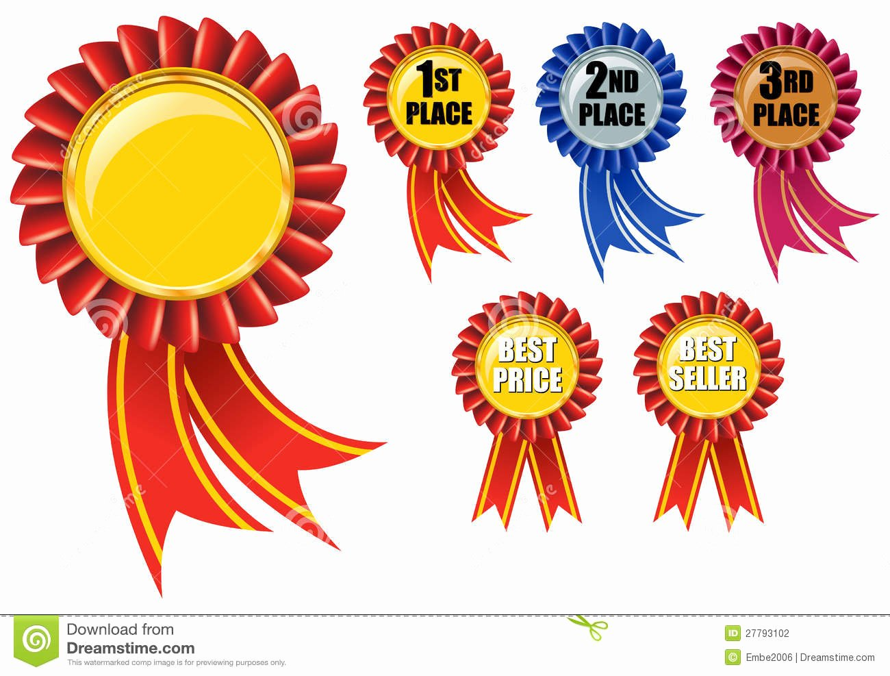 1st 2nd 3rd Place Certificate Template Luxury Ribbon Award Stock Graphy Image