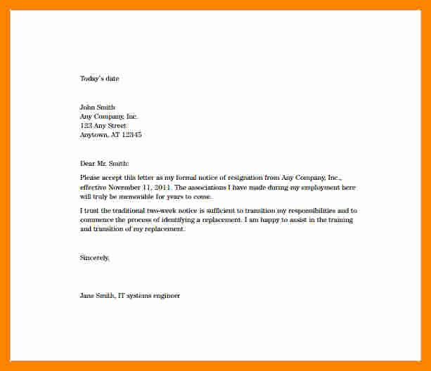 2 Week Notice Letter for Retail Awesome 11 Resignation Letter 2 Week Notice Sample