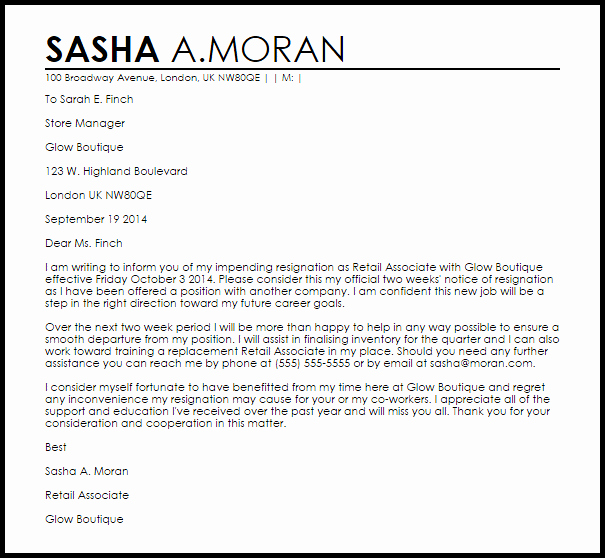 2 Week Notice Letter for Retail Elegant Retail Resignation Letter Example