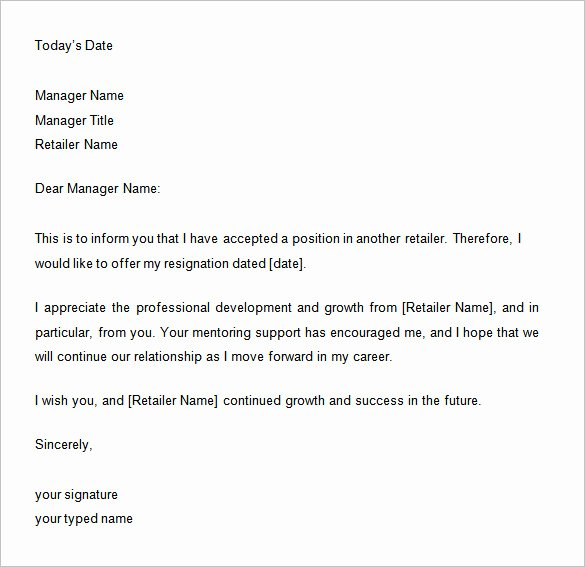 2 Week Notice Letter for Retail Luxury 34 Two Weeks Notice Letter Templates Pdf Google Docs