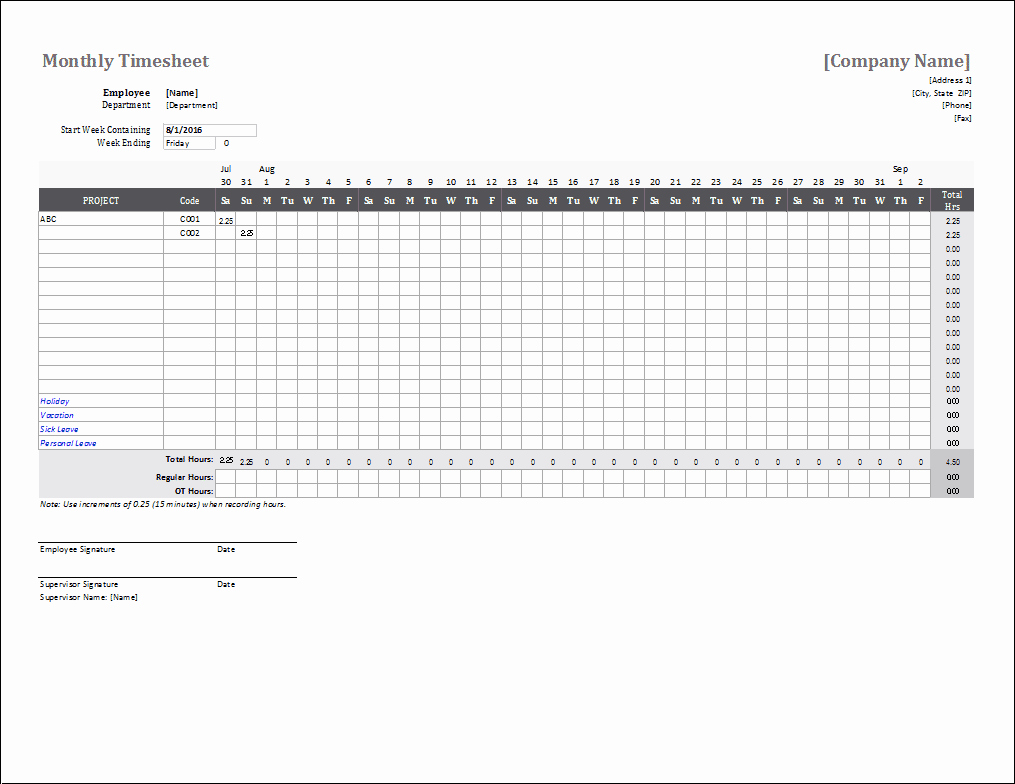 2 Week Timesheet Beautiful Monthly Timesheet Template for Excel and Google Sheets
