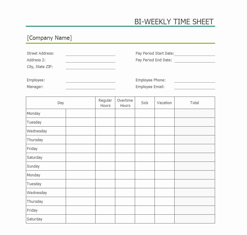 2 Week Timesheet Best Of 40 Free Timesheet Templates [in Excel] Template Lab