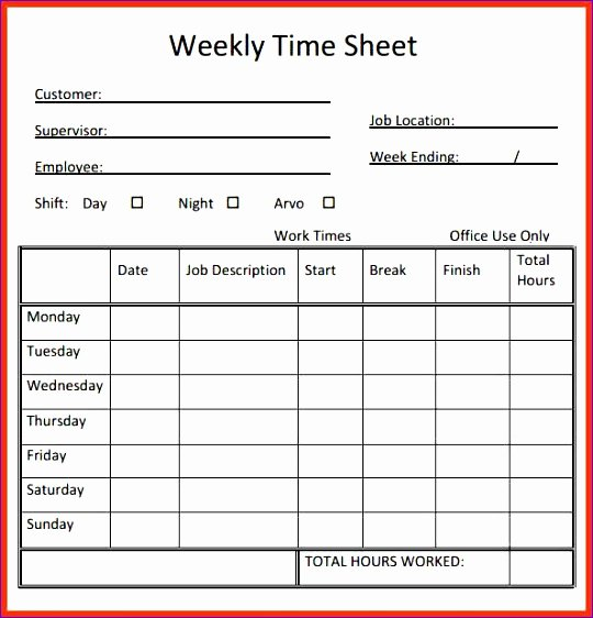 2 Week Timesheet Unique 6 Timesheet Excel Template Download Exceltemplates