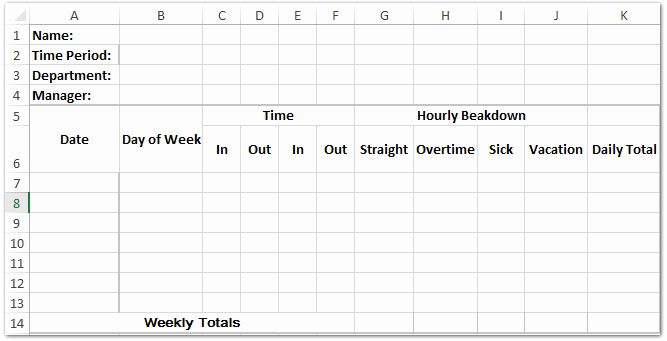 2 Week Timesheet Unique How to Create A Time Sheet Template In Excel