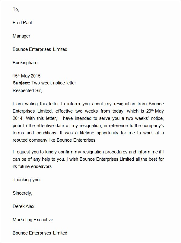 2 Weeks Notice Letter for Retail Awesome Wo Weeks Notice Letter with Gratitude Two Weeks Notice