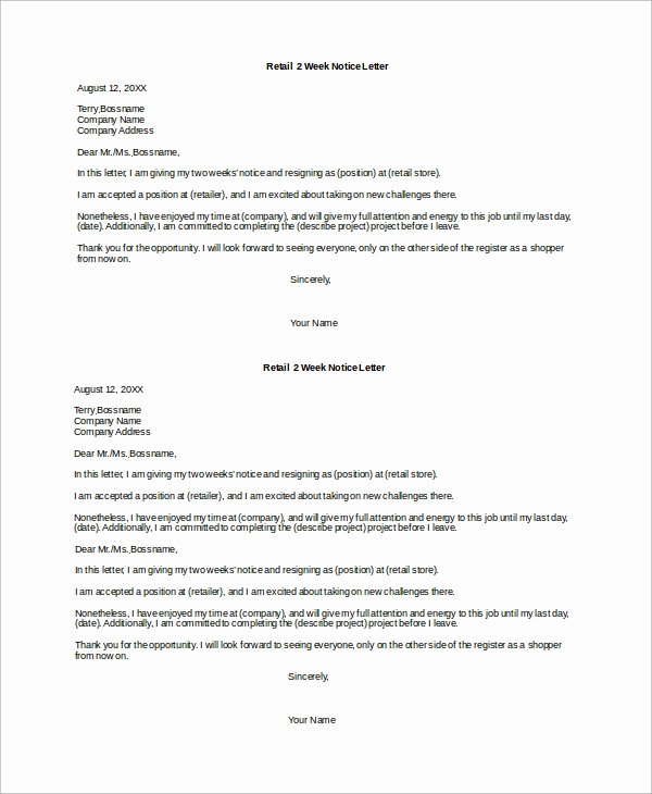 2 Weeks Notice Letter for Retail Beautiful Sample 2 Week Notice Letter 8 Examples In Word Pdf