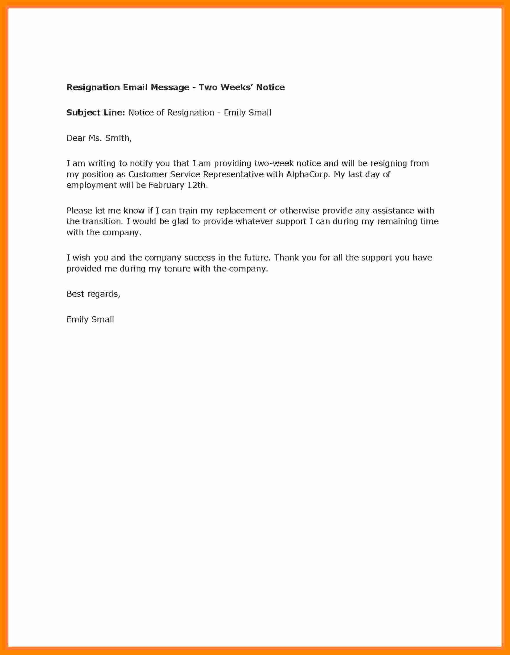 2 Weeks Notice Letter for Retail New 8 Letter Of Resignation 2 Weeks Notice Nurse