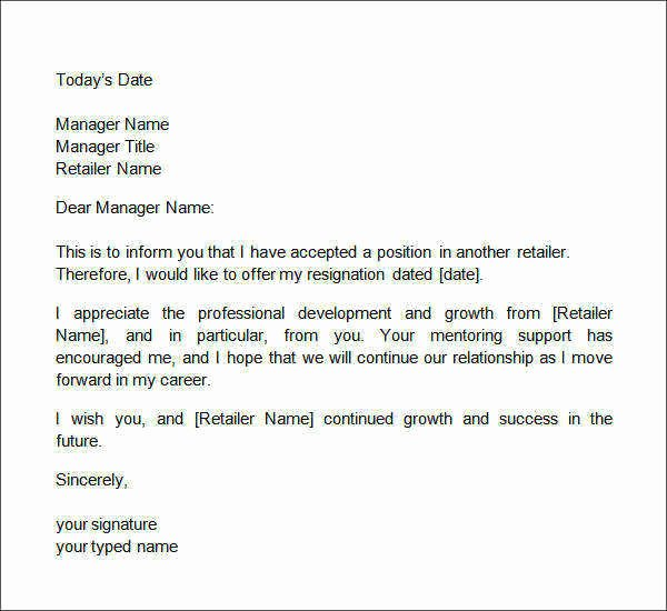 2 Weeks Notice Letter Sample Retail Awesome Free 14 Sample Two Weeks Notice Letters In Doc
