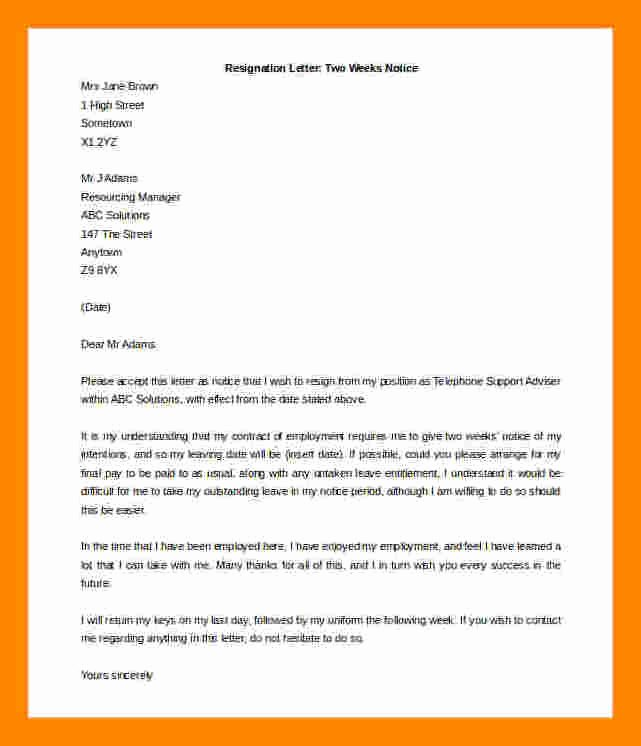 2 Weeks Notice Letter Sample Retail Lovely 7 Two Weeks Notice Resignation Letter