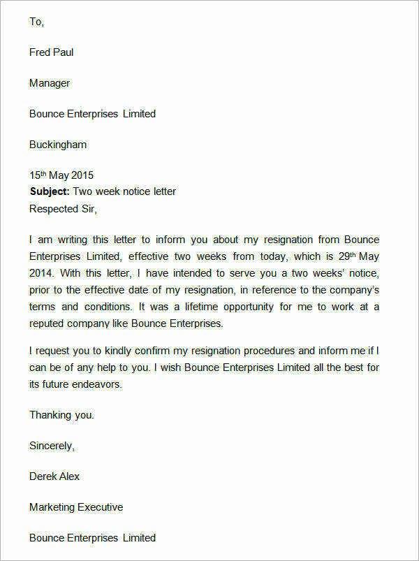 2 Weeks Notice Letter Sample Retail Luxury 15 Sample Two Weeks Notice Letters In Doc