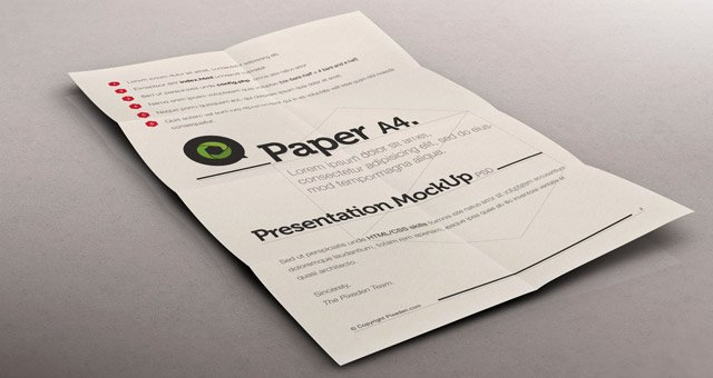 psd a4 paper mock up presentation