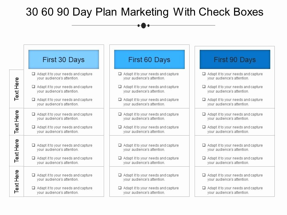 30 60 90 Day Sales Plan Template Free New 30 60 90 Day Plan Marketing with Check Boxes Example