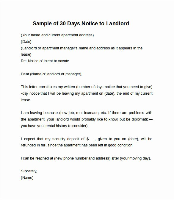 30 Day Move Out Notice Sample Unique 10 Sample 30 Days Notice Letters to Landlord In Word
