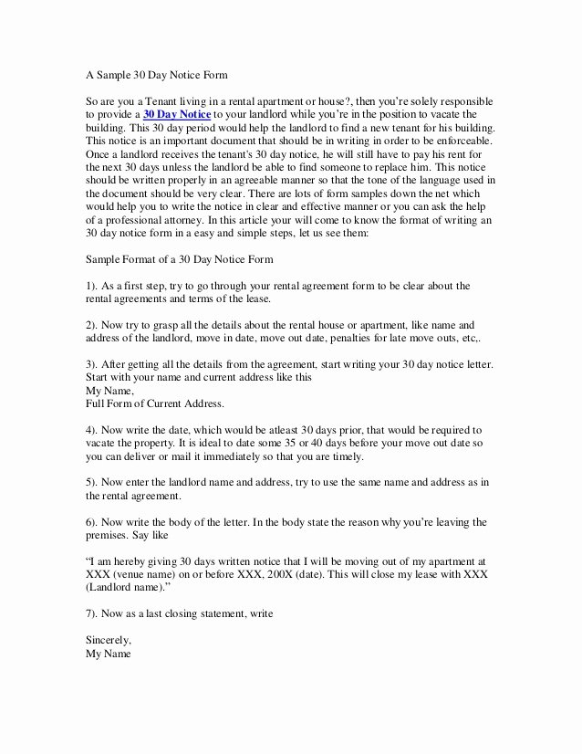 30 Day Move Out Notice Template Awesome 30 Day Notice