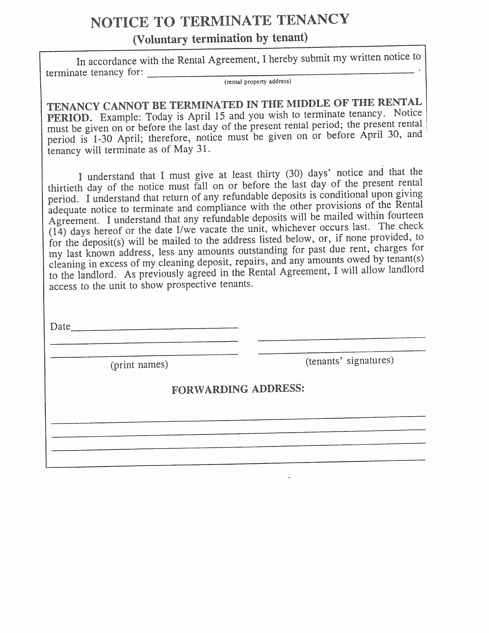 30 Day Move Out Notice to Tenant New Sierra Vista Az Real Estate