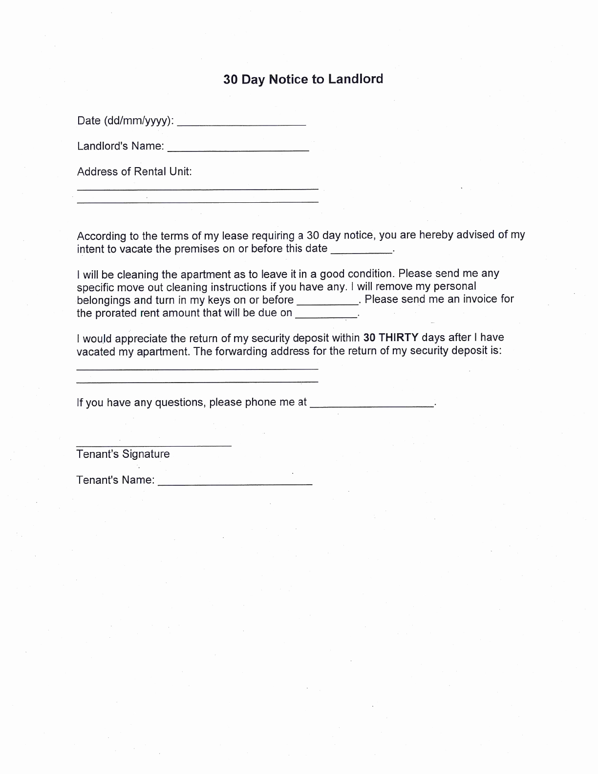 30 Day Notice Moving Out Letter Best Of Free 30 Day Notice to Landlord Pdf 266kb