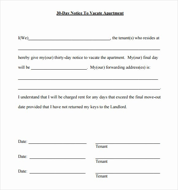 30 Day Notice Moving Out Letter Lovely 30 Day Notice Template 9 Download Free Documents In Pdf