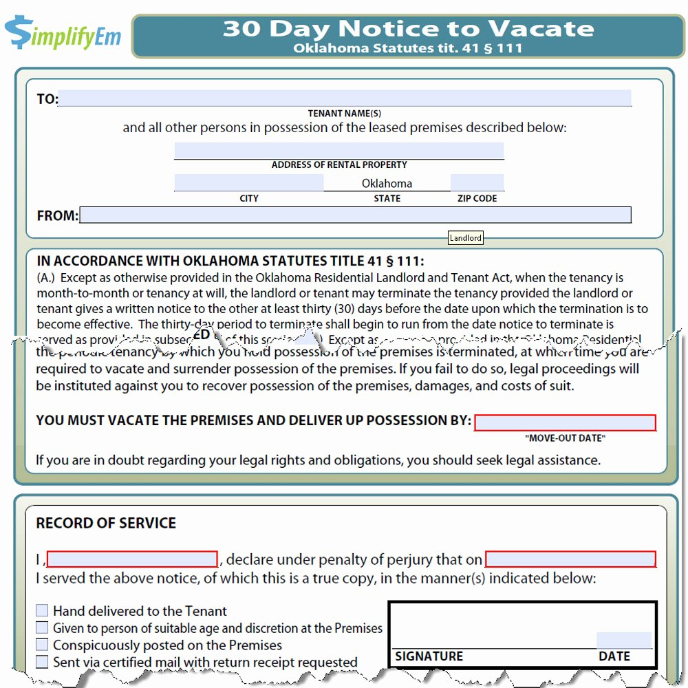 30 Day Notice oregon Template Fresh Oklahoma Notice to Vacate