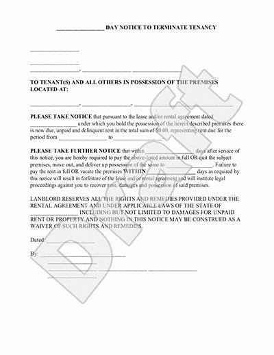 30 Day Notice oregon Template Luxury Tenant 30 Day Notice to Vacate