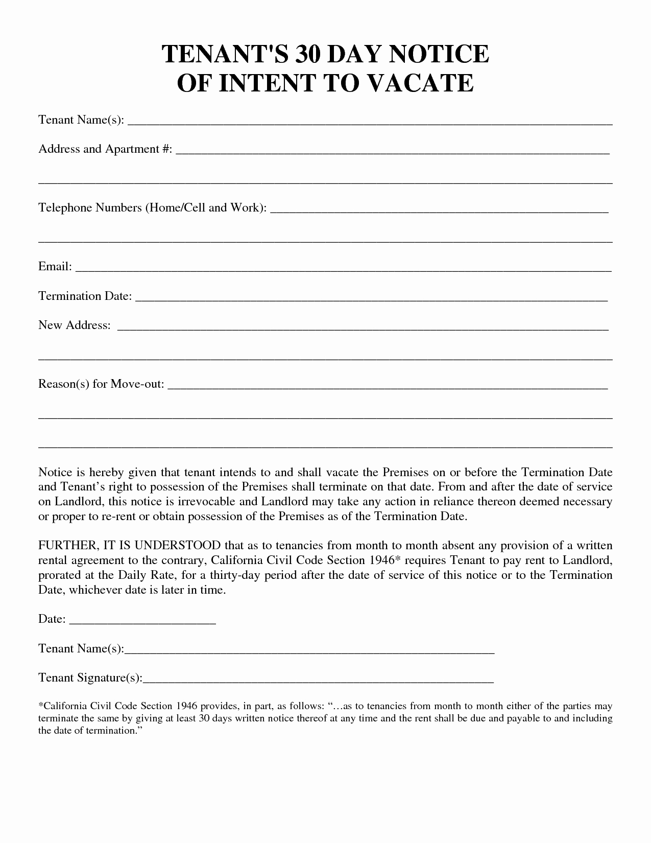 30 Day Notice to Landlord California Fresh 30 Day Notice to Vacate Template
