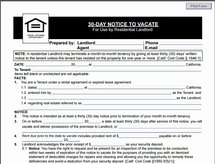30 Day Notice to Landlord California Lovely 12 Eviction Notice Template Examples