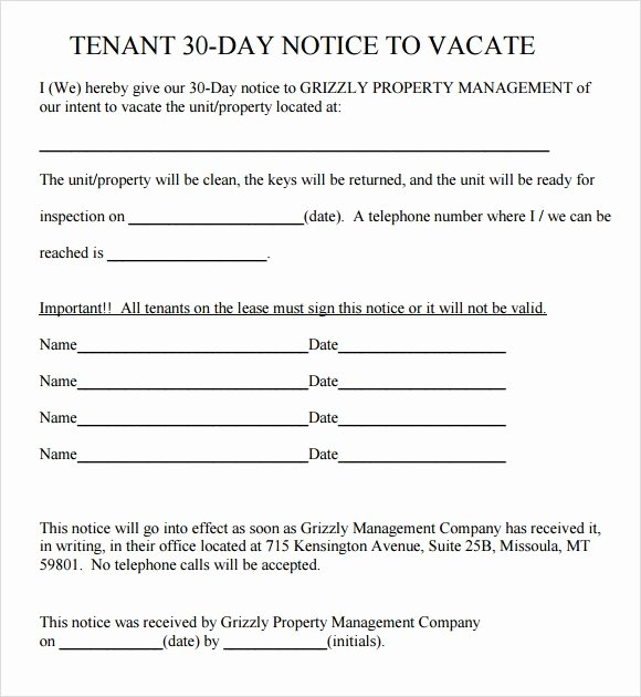 30 Day Notice to Landlord California Luxury 30 Day Notice to Vacate Template