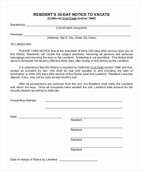 30 Day Notice to Landlord California Sample Awesome Free 14 Examples Of 30 Day Notice In Pdf Doc