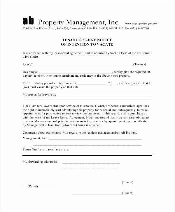 30 Day Notice to Landlord California Sample Elegant 13 30 Day Notice Templates Google Docs Ms Word Apple