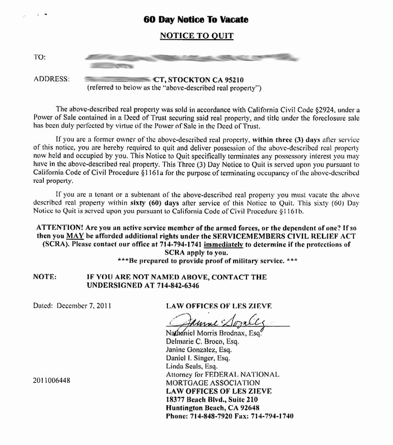30 Day Notice to Landlord California Sample Unique Tenant 30 Day Notice to Vacate