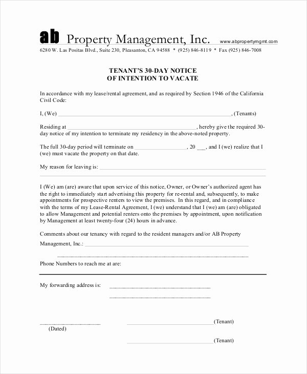 30 Day Notice to Landlord California Template Elegant 13 30 Day Notice Templates Google Docs Ms Word Apple
