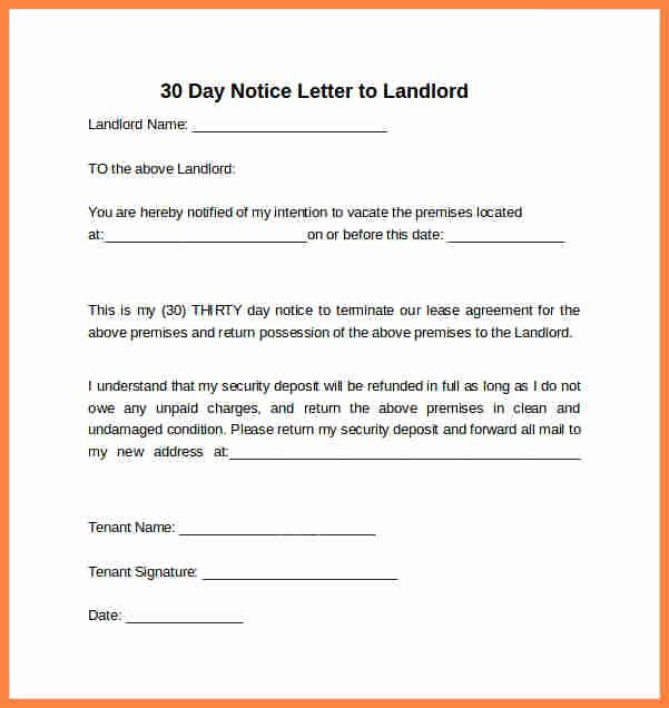 30 Day Notice to Landlord California Template Lovely 4 30 Day Notice Letter to Landlord Template