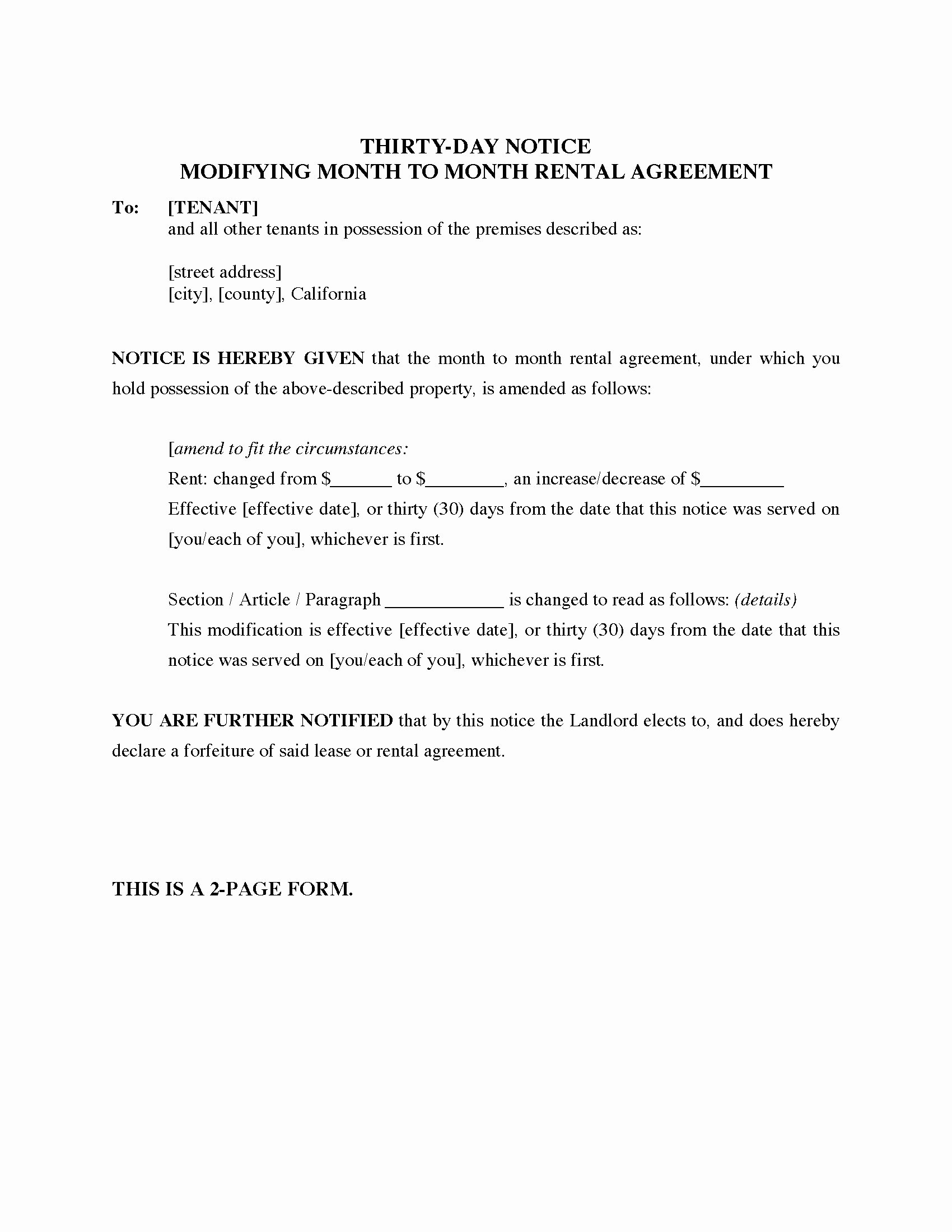 30 Day Notice to Landlord California Template Luxury California 30 Day Notice Modifying Month to Month Rental
