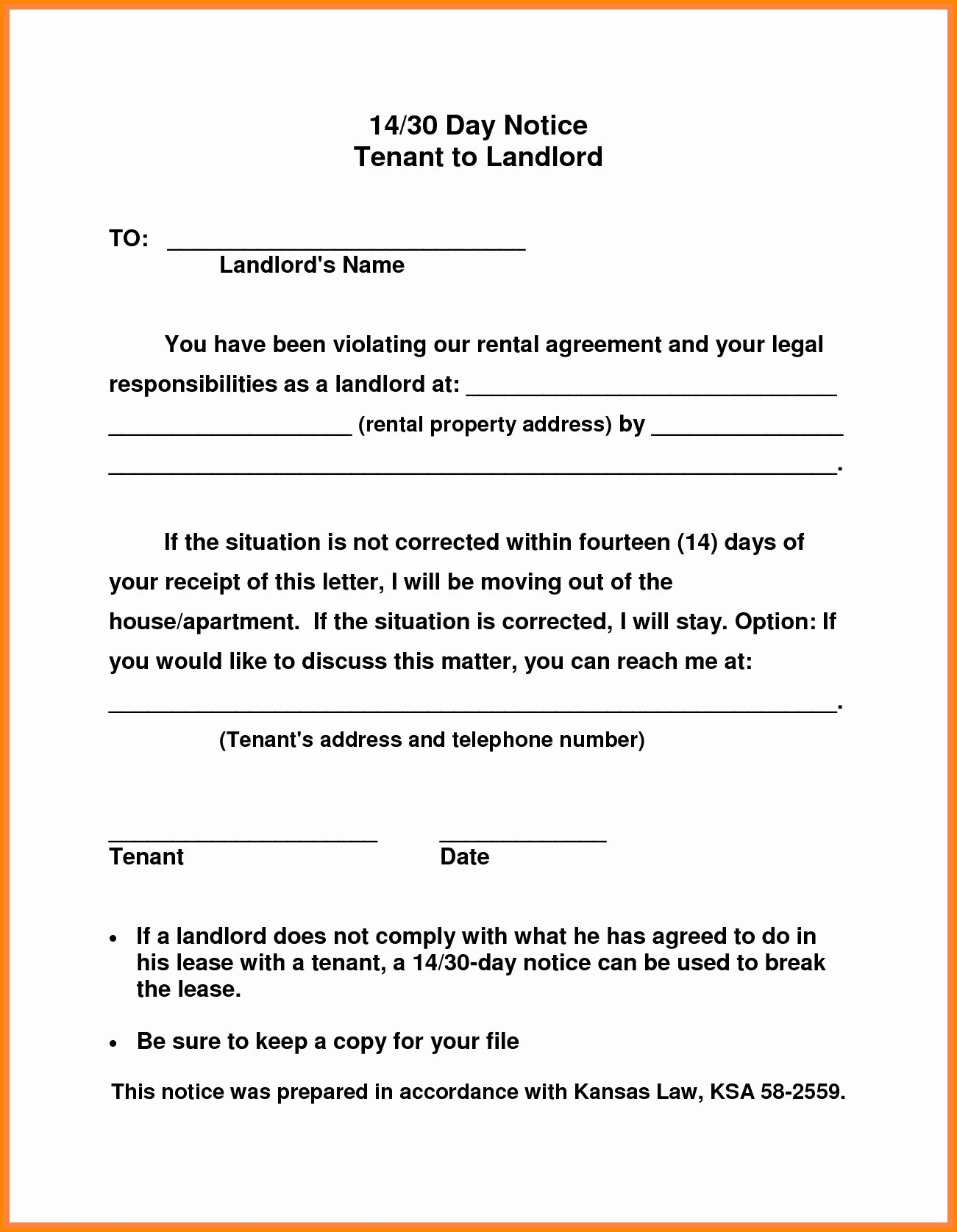 30 Day Notice to Landlord California Template Luxury Sample Letter From Tenant to Landlord to Vacate Eviction