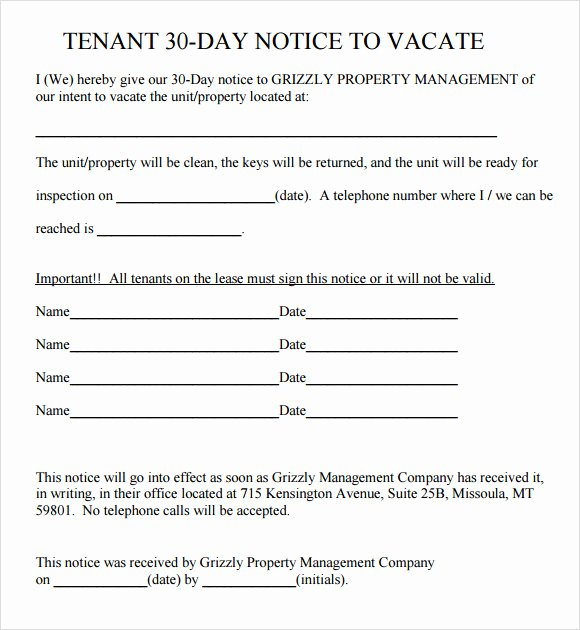 30 Day Notice to Landlord Template Awesome Free 11 30 Day Notice Templates In Pdf