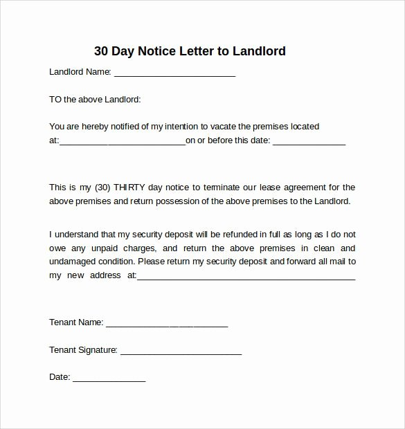 30 Day Notice to Landlord Template Elegant 30 Day Notice to Landlord California Template
