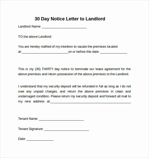 30 Day Notice to Landlord Template Unique 10 Sample 30 Days Notice Letters to Landlord In Word