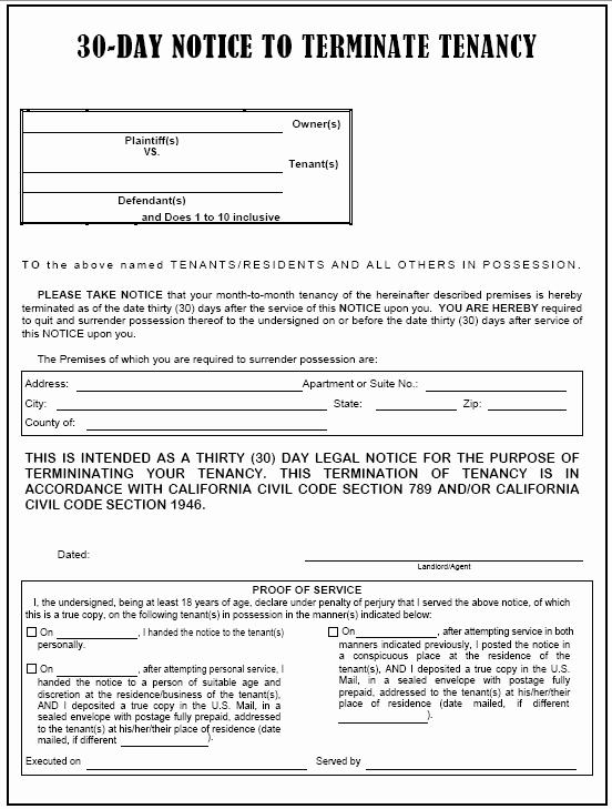30 Day Notice to Tenant California Template Awesome 30 Day Eviction Notice