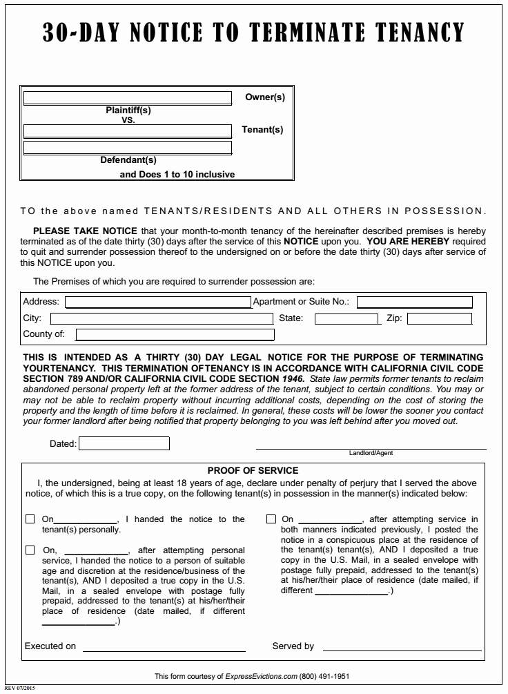 30 Day Notice to Tenant California Template Luxury Free California Eviction form Pdf Template