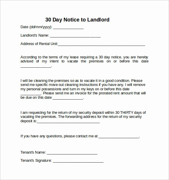 30 Days Move Out Notice to Landlord Beautiful 10 Sample 30 Days Notice Letters to Landlord In Word