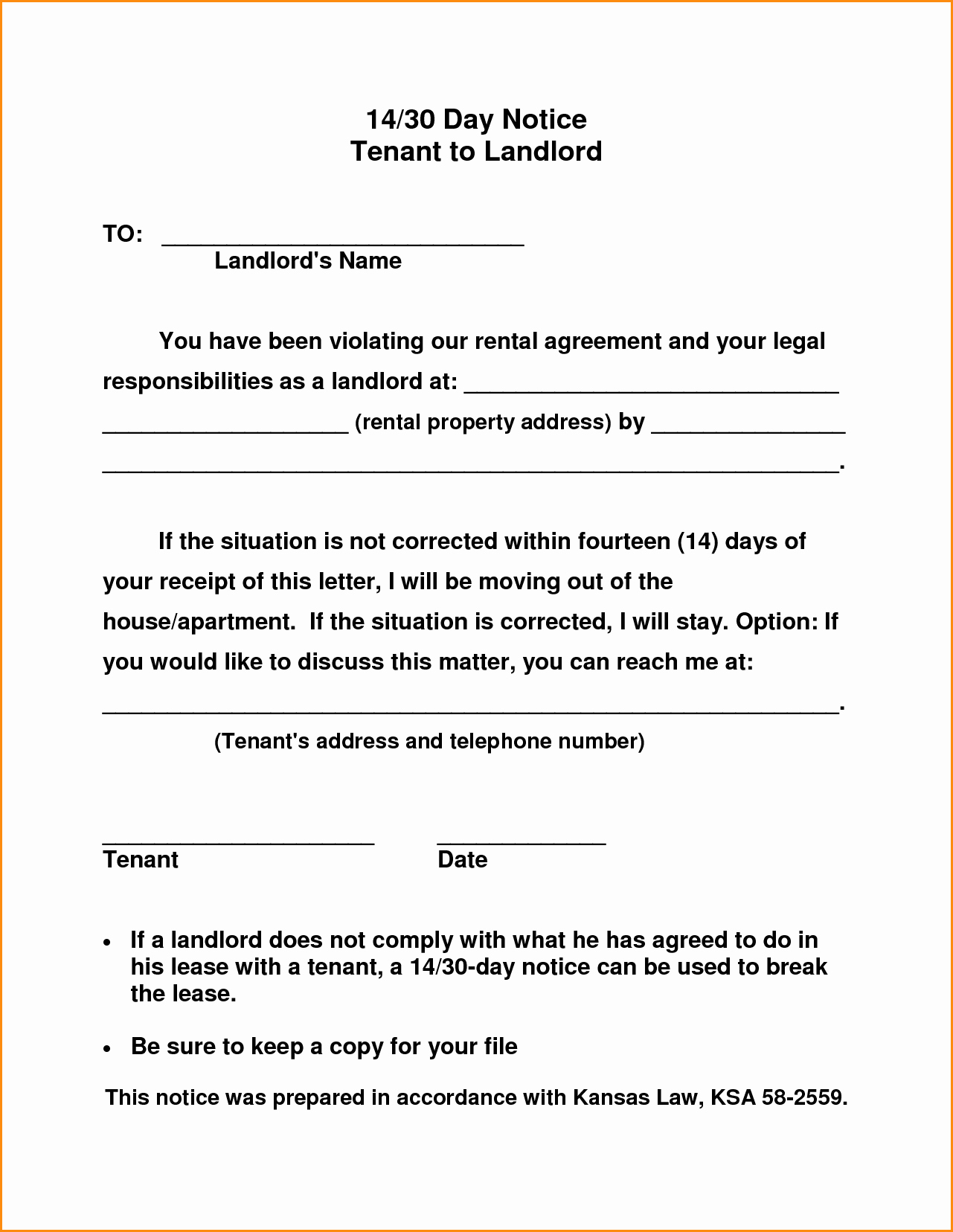 30 Days Notice to Landlord Template Fresh 30 Day Notice to Landlord Template