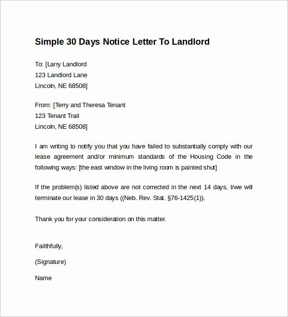30 Days Notice to Landlord Template Unique 10 Sample 30 Days Notice Letters to Landlord In Word