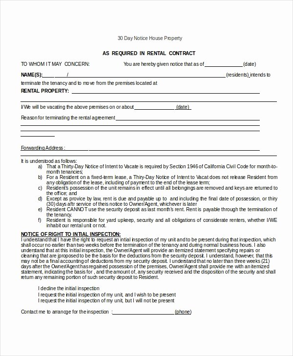 30 Notice to Move Best Of 13 30 Day Notice Templates Google Docs Ms Word Apple