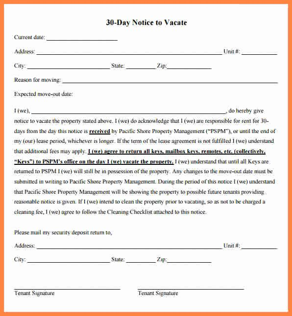 30 Notice to Move Inspirational 6 30 Day Move Out Notice Template