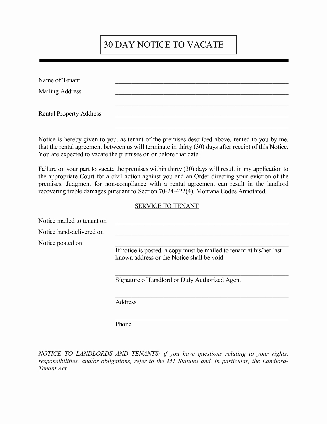 30 Notice to Move New 30 Day Notice to Vacate to Tenant Free Printable Documents