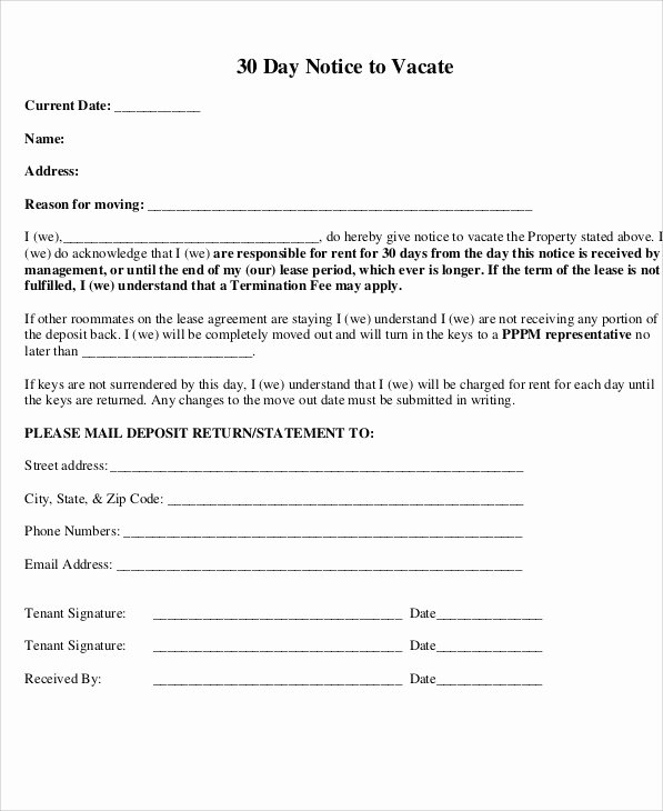 30 Notice to Move Out Fresh 13 30 Day Notice Templates Google Docs Ms Word Apple