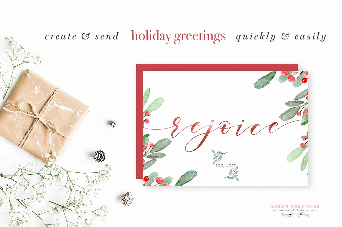 5 X 7 Postcard Template Lovely Watercolor Christmas Wreath Clipart Christmas Card